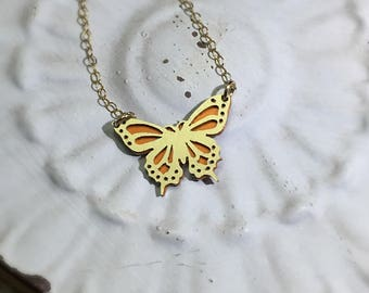 Butterfly Necklace-Layering Necklace-Gold Butterfly Necklace-Butterfly Charm Necklace with back