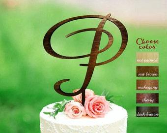 Letter p cake topper, wedding cake topper, cake toppers for wedding, rustic cake topper wood, cake topper wedding, cake topper p, CT#233