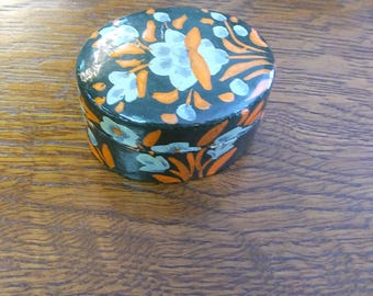 Small Floral Wooden Trinket Box with Flowers