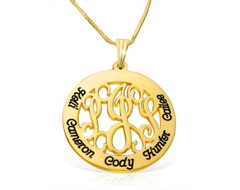 Monogram Necklace Engraved Monogram Real Gold Engraved Monogram Pendant Necklace Monogram Chain Engraved Necklace Gold Monogram Gold Chain