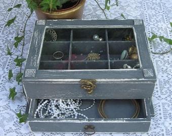 Grey Shabby Chic Home Decor Wooden Jewelry Box
