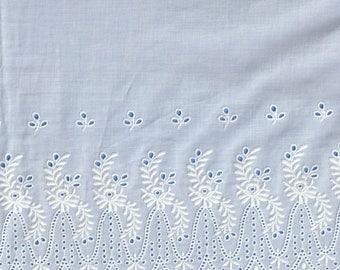 White Swiss Batiste Scalloped Embroidered Flounce - 27 Inches Wide - 100 Percent Cotton - Heirloom Sewing Supplies - Doll Dress Supplies