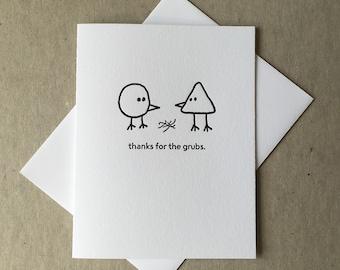 Letterpress grubs bird card (#BRD007)