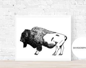 Bison Print, Scandinavian Print, Hand Drawn, Minimalist, Bison Digital Prints, Instant Download, Bison Wall Art, Black And White