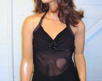 Bebe Black Silk Halter Top M