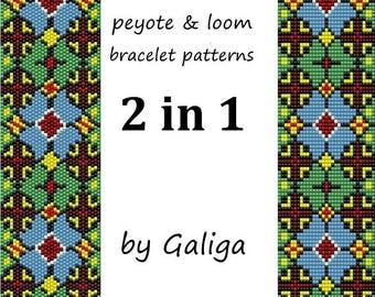 Bracelet pattern Ethnic bracelet beading pattern Loom pattern Peyote pattern Two in one Loom and peyote Bead pattern Instant download