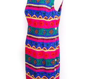 Women's Size 12 KATHIE LEE 90s Dress Sleevless Tribal Dress Multicolor Fuchsia Turquoise Blue Green Yellow Floral Summer Dress Sun Dress