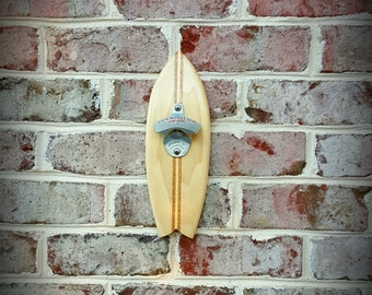 Surfboard bottle opener, wall mounted, Fish shape, Handmade from Poplar & Mahogany, StarrX opener