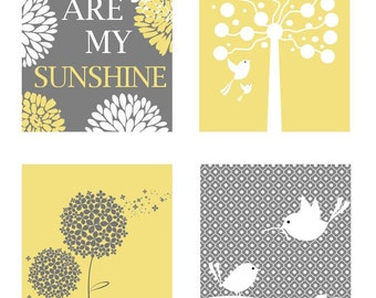 Yellow and Gray Nursery Decor // Yellow and Grey Art // Yellow Nursery Art// Mommy and Me, You are my Sunshine PRINTS ONLY
