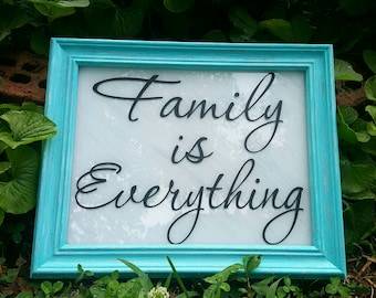 Rustic picture frame, Family is everything, Rustic home decor, 8x11 Distressed picture frame, Family sign