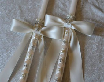 Ivory Greek Orthodox Candles - Greek Wedding Candles - Set of 4 Orthodox Wedding Candles - Lambathes - Lambades - 18 and 24 Inch