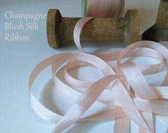 "Champagne Blush Silk Ribbon, 1/4"" wide Ribbon, Romantic Weddings, Invitations, Gift Wrap,  Party Supplies"
