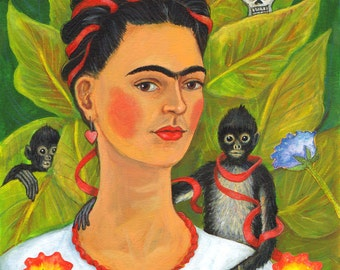 "Signed A4 Giclee limited edition print ""Frida and the Monkeys"", for those who love Frida Kahlo and Day Of The Dead! By Laura Robertson"