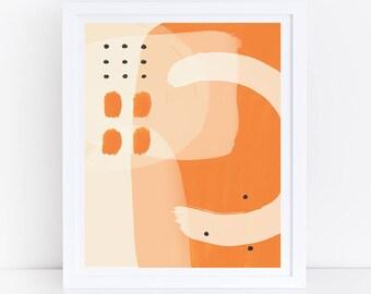 Abstract Wall Art, Abstract Art, Orange Wall Art, Geometric Print, Orange Geometric, Orange, Modern Art, Watercolor Print, Vibrant Art