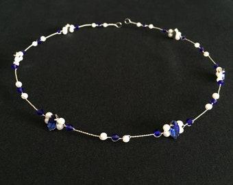 Something Blue Bridal Wreath, Wedding Hair Vine, Petite Hair Wreath, Bridal Hair Wreath, Wedding Hair Garland