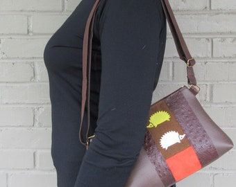 Small Vegan Leather Purse - Hedgehog Crossbody Bag - Hedgehog Cross-Over Bag in Brown Vegan Leather
