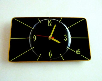 French 1950-60s Atomic Age JAPY Bright YELLOW Stripes - French Formica Clock - Black and Yellow Formica Wall Clock - Great Working Condition