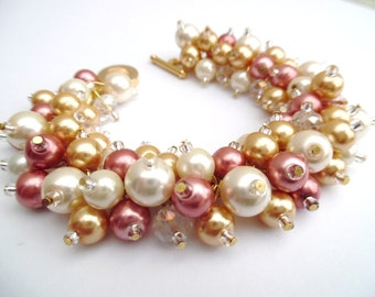 Ivory Gold and Rose Gold Pearl Bracelet, Pearl Wedding Bracelet, Pearl Cluster Bracelet, Bridesmaid Jewelry, Beaded Bracelet, Rose Pink