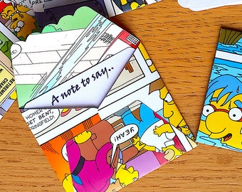 6 Simpsons Comic Book Mini Envelopes / Gift Card- The Simpsons Note cards- Comic Book Birthday - Simpsons  Party -  Birthday Party  Decor