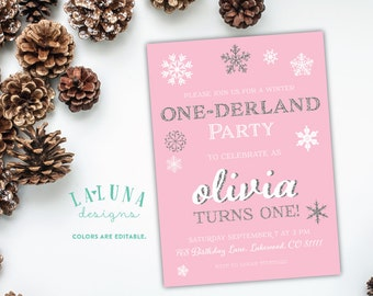 Winter Onederland Party, Winter Onederland Invitation, Winter Onederland Invites, Winter Onederland Birthday, Glitter Birthday Invitation