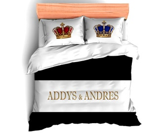 Crowns  Personalized Bed Runner, Bed Scarf, Bedding & coordinate Pillows, King and Queen Crowns