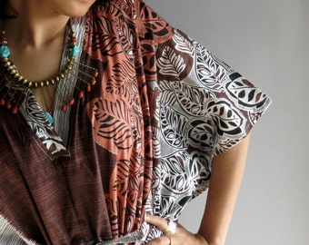 Brown Leafy Short 70s Inspired Hostess Gown Kaftan - Best gift for her, dressing gown, lounge wear, beach cover up, vintage fashion dress