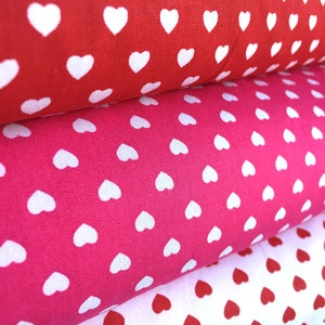 Cute HEARTS 100% Cotton Poplin Fabric Material  - 140 cm wide - White, Red or Hot Pink Heart Print Fabric