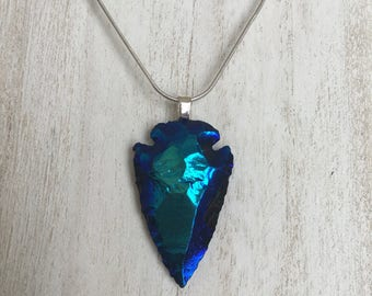 Titanium Aura Arrowhead Sterling Silver Necklace