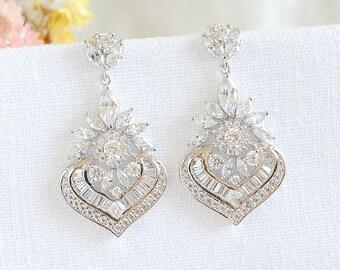 Crystal Bridal Earrings, Wedding Dangle Earrings, Bridal Jewelry, Round Halo Earrings, Marquise Earrings, Flower Filigree Earrings, EZMAE