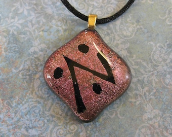 Copper Brown Dichroic Necklace, Auburn Brown Pendant, Handmade Fused Glass Pendant, Dichroic Jewelry - Heat Lightning - 3240 -3