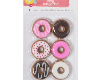 Donut Erasers Amy Tan Oh Happy Life Erasers 6/Pkg (376228)
