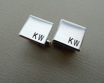 Personalized Cufflinks - Square Initial Cufflinks - Aluminum Custom Cuff links