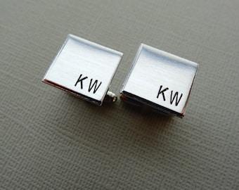 Personalized Cufflinks - Square Initial Cufflinks - Aluminum Custom Cuff links