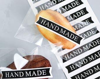 Handmade sticker, handmade banner sticker in black with white text, set of 48 stickers, etsy store packaging supply