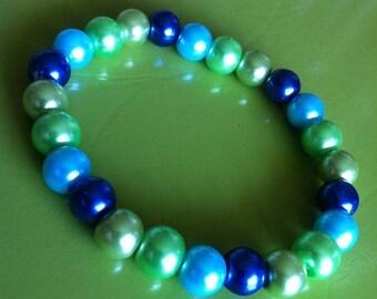 Bracelet perles vert, turquoise et bleu