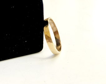 SOLID Gold Hammered Band - Thick 10K Solid Gold - Rustic 3mm Hammered Solid Gold Wedding Band - Thick Hammered Gold Ring - Hallmarked 10K