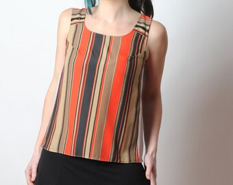 Striped summer top, Sleeveless top, Red and brown shirt, Womens clothing, MALAM, UK 12
