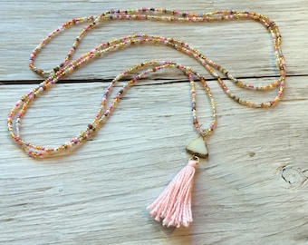 Pink tassel Necklace, Seed bead necklace, long beaded necklace, endless necklace