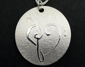 Musician's Gift Sterling Silver Disc Necklace with Treble and Bass Clef Heart