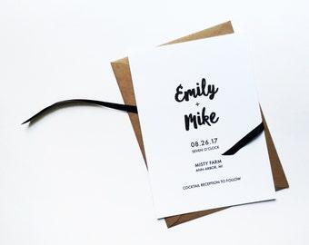 mr. + mrs. minimalist wedding invitations