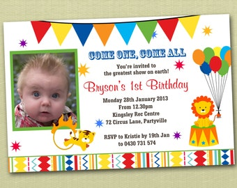 Circus Carnival Birthday Invitations - You Print