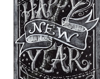Chalkboard Art Poster Happy New Year quote digital24x36print Photo Prop Downloadable greeting card mini poster great gift high resolution