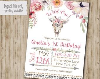 Wild One Birthday invitation, Floral Skull Tribal invitation, Teepee Birthday invite, Watercolor, Floral, Shabby Chic, Boho Birthday
