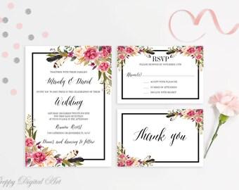 Roses Wedding Invitation Printable Floral Wedding Invitation Boho Wedding Invite Magenta Wedding Invite Spring Summer Wedding Rose Wedding