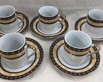GNA Fine Porcelain Cups & Saucers Demitasse ESPRESSO Set Of 5 White/Gold