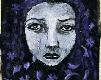 Mauve Tears for cleaning eyes - original painting  - A4 21x29,7 cm