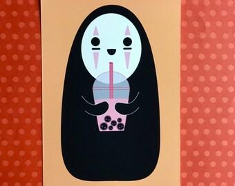 5x7 Art Print No-Face & Soot Sprite Boba Tea