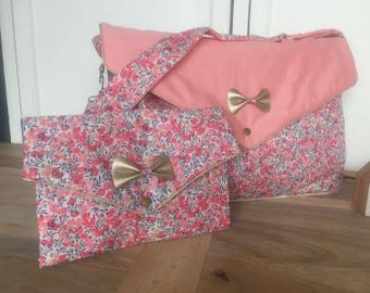 Liberty, diaper bag sweet pea Wiltshire fabric quilted and coral pink with gold bow