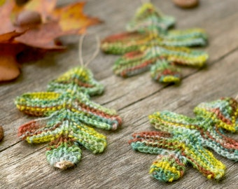 Knitting Pattern - Oak Leaves - Knitted - Garland - Autumn - Fall Decor - Leaf Coaster - Knit Leaf - Woodland - Thanksgiving - Halloween