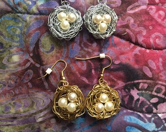 Handmade Gold and Silver Wire Bird Nest Earrings